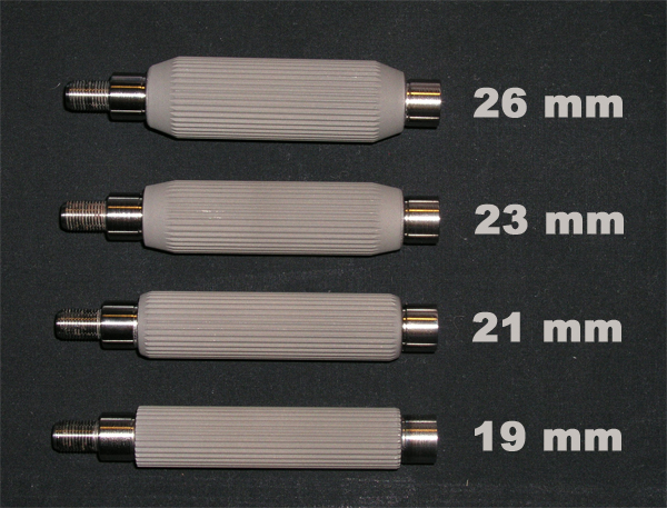 Přehled hřídelek 19 mm, 21 mm, 23 mm, 26 mm.